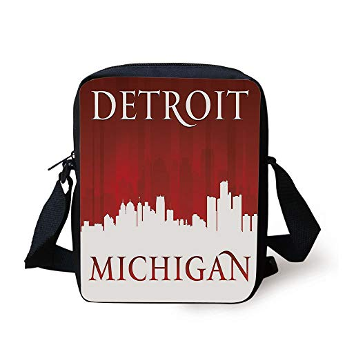 CBBBB Detroit Decor,Michigan City Silhouette Red and White Composition Classical Typography,Red and White Print Kids Crossbody Messenger Bag Purse -