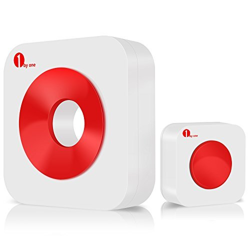 Preisvergleich Produktbild 1byone Easy Chime Funktürklingel, 1 Batteriebetriebene Empfänger & 1 Sender (Klingeltaste), Tragbar Modernes Design, Witterungsbeständig, Spritzwassergeschützt, 36 Klingeltöne Lautstärkeregelung, Rot + Weiß
