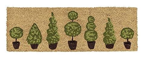 Coco Style Kokos-Fußmatte, Türmatte, Eingangsmatte, Vorleger Des. 9126-18 Pflanzen ca. 25 x 75 cm, rutschfest, 100% Kokos bedruckt