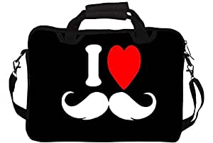 "Snoogg I Love Mustache 13"" 13.5"" 13.6"" inch Laptop Notebook SlipCase With Shoulder Strap Handle Sleeve Soft Case With Shoulder Strap Handle Carrying Case With Shoulder Strap Handle for Macbook Pro Acer Asus Dell Hp Sony Toshiba"