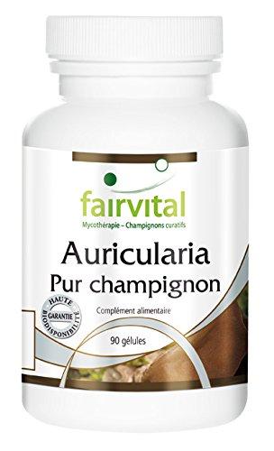 Auricularia 500mg, le champignon pur, 500mg de poudre de champignon 90 gélules végétariennes, champignon curatif