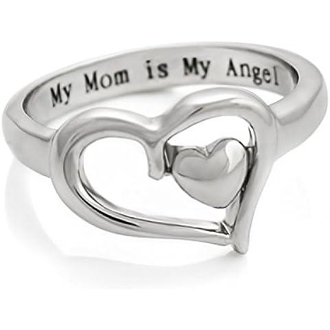 Mothers a forma di cuore, con doppio cuore purezza Anello per mamma, Anello per mamma, motivo: