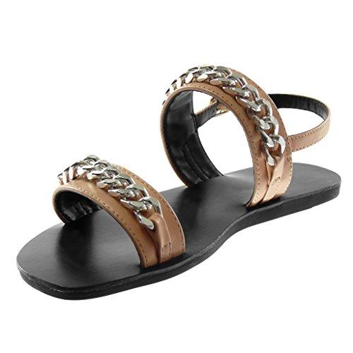 Angkorly Scarpe Moda Sandali con Cinturino Alla Caviglia Donna Catena Multi-Briglia Tacco Tacco Piatto 1 cm Rosa