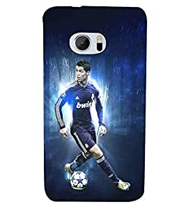 Football, Blue, Football player in action, Fantastic Pattern, Printed Designer Back Case Cover for HTC 10 :: HTC One M10