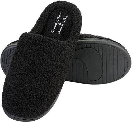 L-RUN Zapatillas de casa Lavables de de los Hombres de la Espuma con la Suela de Goma Antideslizante Negra, Hombres 39-40 UE