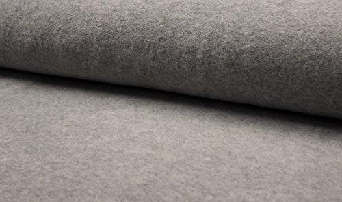 Hochwertiger Baumwoll Fleece in Grau Melange, Meterware zum Nähen für Kinder- und Erwachsenenbekleidung, ab 0,5 Meter