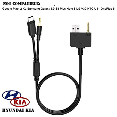 KIA Hyundai Typ C 3,5 mm Aux Kabel, USB C Auto Musik Audio Adapter Ladegerät, Kompatibel mit Huawei, Motorola Moto Z, leeco Le S3/2 Pro, Xiaomi für KIA Hyundai - Kia 2011 Forte Koup