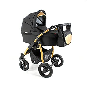 Lux4Kids Pram Stroller 3in1 2in1 Isofix Colour Selection Buggy Car seat Zod Black Gold Zg-03 4in1 car seat +Isofix   8