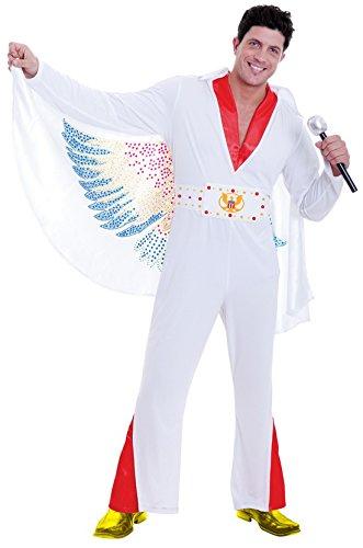 erdbeerloft - Herren Fancy Elvis Musikstar Karaoke 60ies Kostüm, Weiß, Größe 3XL