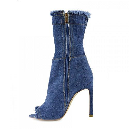 Kick Footwear - Damen Stretch Jeans Über Die Knie Oberschenkel Hohe Open-Toe-Stilettos High Heel Middle Denim NF446