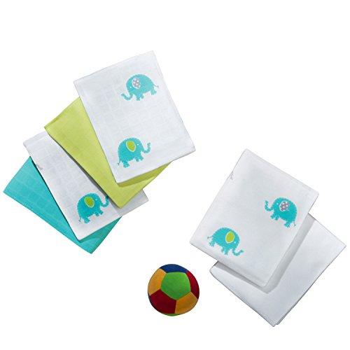 Baby Butt Mulltücher 4er-Pack weiß/türkis/grün