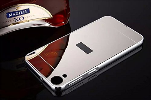 AEMA (TM) Luxury Metal Bumper + Acrylic Mirror Back Cover Case For HTC DESIRE 826 SILVER