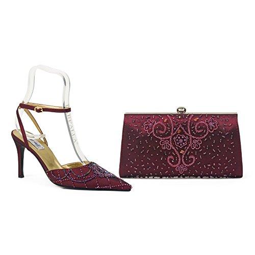Farfalla lusso borsa scarpe e Rosso (Bordeaux)