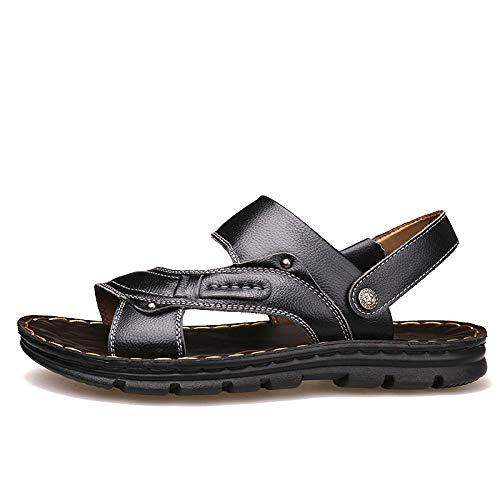 SONGYANG Sandalen Leder Herren Sandalen Open Toe Slip On Fashion Freizeitschuhe Herren Herren Hausschuhe Sommer Strand Sandalen Plus Size 38-44@Black_8.5 -