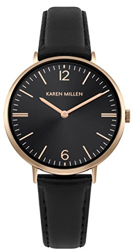 Karen Millen Womens Analogue Classic Quartz Watch with Leather Strap KM163BRG