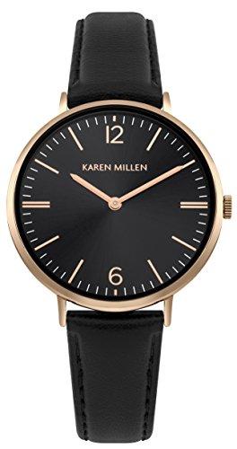 Karen Millen Womens Analogue Classic Quartz Watch with Leather Strap KM163BRG