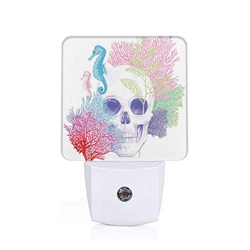 eton Head With Coral Reef Dead Aquarium Pirate Wildlife Image Plug-in LED Night Light Lamp with Dusk to Dawn Sensor, Night Home Decor Bed Lamp ()