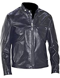 Classyak Hombre Vintage Negro Fashion de vaca con una chaqueta de cuero