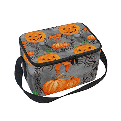 ALINLO Halloween-Lunch-Tasche, lustiges Kürbis-Emoji-Design, Reißverschluss, isolierte Kühltasche, Lunchbox, Essen Vorbereitung, Handtasche für Picknick, Schule, Damen, Herren, Kinder