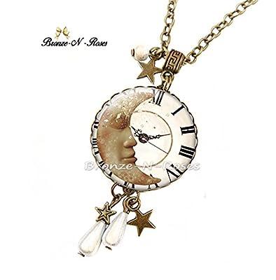 Sautoir collier Le temps d'un rêve bijou cabochon bronze blanc lune cadeau Noël