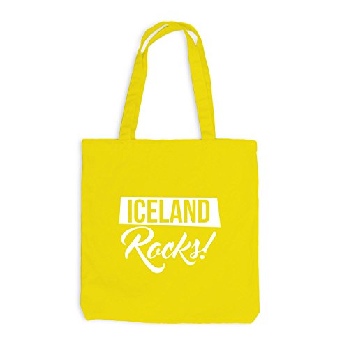 Jutebeutel - Iceland Rocks Football Fussball Island - Fan Gelb