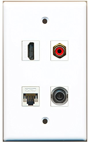 RiteAV - 1 Port HDMI 1 Port RCA Rot 1 Port 3,5 mm 1 Port CAT5e Ethernet weiß Wall Plate (Plate Hdmi Rca Wall Ethernet)
