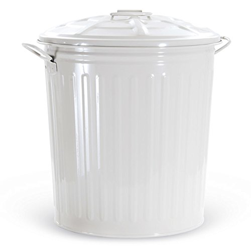 Verdelook bidone per rifiuti con coperchio, bianco, capienza 62 litri, cestino pattumiera immondizia spazzatura