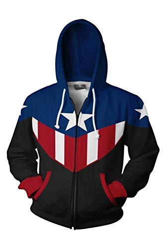 Avenger First Cosplay Kostüm America Captain - MingoTor Herren Damen Kapuzenjacke Pullover mit Kapuze Sweatjacke Hoodie Blau