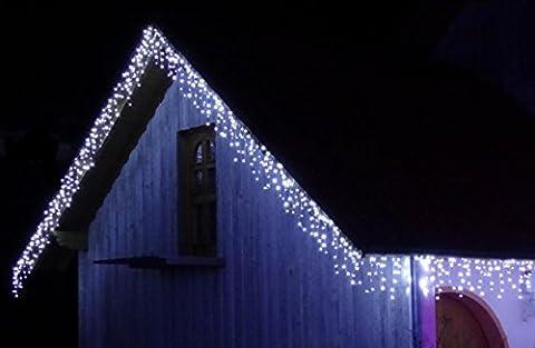 200 LED PREMIUM ges. 10 METER EISREGEN WEIHNACHT-LICHTERKETTE~WARMWEISS ODER KALTWEISS-SCHNEE~EISZAPFEN EFFEKT~IP44~WEIHNACHTSBELEUCHTUNG~WEIHNACHTSDEKO~DEKO (200 LED Warmweiss)