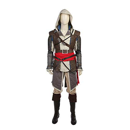 Edward Kenway Kostüm - QWEASZER Film Spiel Pirate Assassin Cosplay Kostüm Edward Kenway Rüstung, Tops Shirt, Hosen, Schuhe, Halloween Cosplay Kostüm Requisiten,Assassin-S
