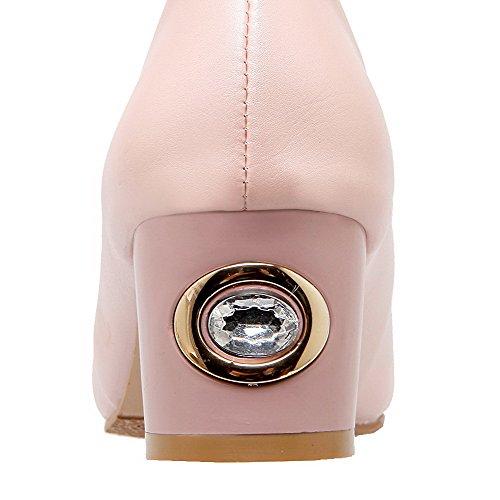 VogueZone009 Femme Tire Pu Cuir Pointu à Talon Correct Couleur Unie Chaussures Légeres Rose