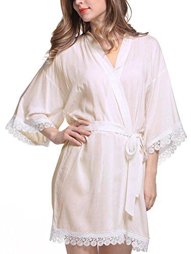 Feoya - Femme Robe de Chambre avec Dentelle Manches 3/4 - Chemise de Nuit Femme Courte - 9 Couleurs Beige