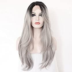 K'ryssma Synthetic Long Natural Straight Hair Ombre Black to Silver Grey Wigs Half Hand Tied Heat Resistant Fiber 22 inches