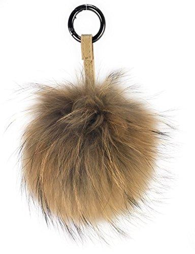XXL Taschenanhänger mit Lederband und Ringkarabiner, Schlüsselanhänger Bommel Pelzbommel Pompon Pelz Fell Echtpelz ! viele Farben ! (naturbraun) (Taschen Pelz)