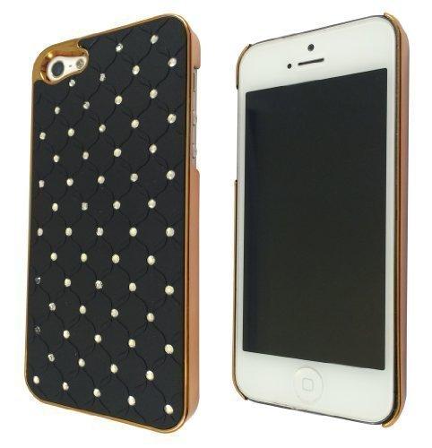 iphone 5/5S Motif Glossy Coque strass matelassée & or Noir
