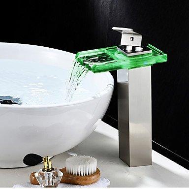 Antiquitäten Anzeigen (SHUILT Mittellage Wasserfall LED-Anzeige Ein Loch for Gebürsteter Nickel , Waschbecken Wasserhahn)