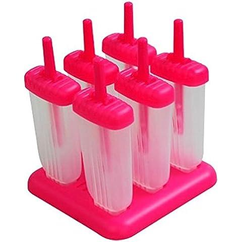Kommii rettangolare a 6 celle, riutilizzabile, da Frozen-stampi per gelato, Stampi per ghiaccioli con Base (6 celle, colore: verde/rosso rosso