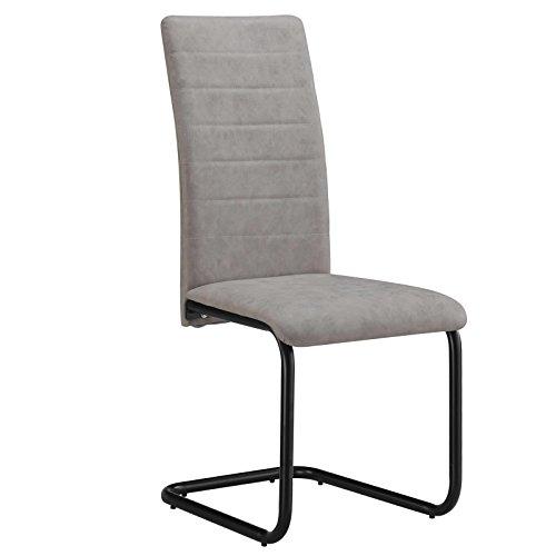 CARO-Möbel Esszimmerstuhl TAVIRA 4er Set Küchenstuhl Schwingstuhl, Wildleder Vintage Used Look in grau