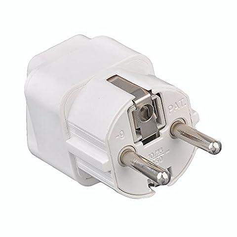 JinTo Adaptateur Secteur UK US Plug Vers EU Plug Power Adapter - Blanc