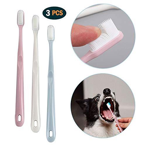 onebarleycorn - 3 pezzi spazzolini da Denti per Cane, in Morbido Silicone con Manico Lungo per Cuccioli Cani di Piccola e Media Taglia Gatti e la Maggior Parte degli Animali Domestici