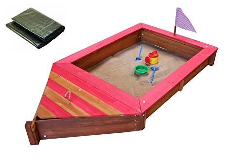 Coemo Sandkasten Boot-Form Rot inkl Abdeckplane Piraten-Schiff Holz Holzsandkasten Stauraum