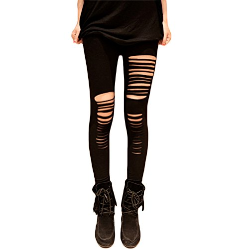 Womens Black Cut Out Ripped Leggings