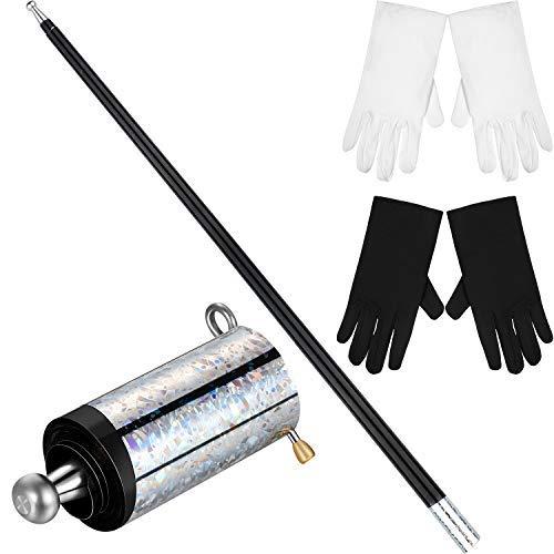 Zauberer Zauberstab Kostüm - Gejoy Zauberstab Schwarz Metall Erscheinen Stock mit 2 Paar Handschuhen für Zauberer Kostüm Zubehör