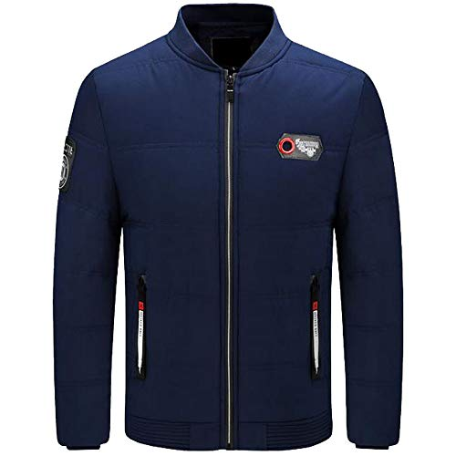 Xmiral Herren Daunenjacke Herbst Winter Pure Color Pullover Langarm Dicke Outwear Jacke (M,Blau)
