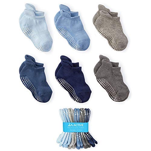 LA Active Socken - 6 Paar - Baby Kleinkind Säugling Neugeborenes - Anti Rutsch/Rutschfest Grip Knöchelsocken (Jungen, 12-36 Monate)