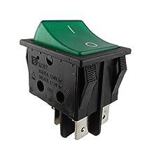 Einbau Wippschalter, 2 polig (4pin) 16A 250~28.5 * 21.9mm Grün Beleuchtet (1)