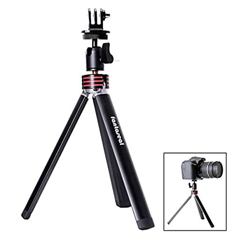 Fantaseal® DSLR Camera + Cellphone + Action Cam 3-in-1 Aluminum Alloy Mini Tripod Table Desk Tripod Travel Portable Tripod Stand w/ Cellphone Clip (UP to 5.5