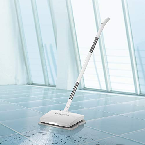 CLEANmaxx Bodenwischer mit Vibrationsfunktion | Akku-Vibrationsmopp, integrierte Sprühfunktion | Akkulaufzeit ca. 50min [Hochwertiger Kunststoff, weiß]