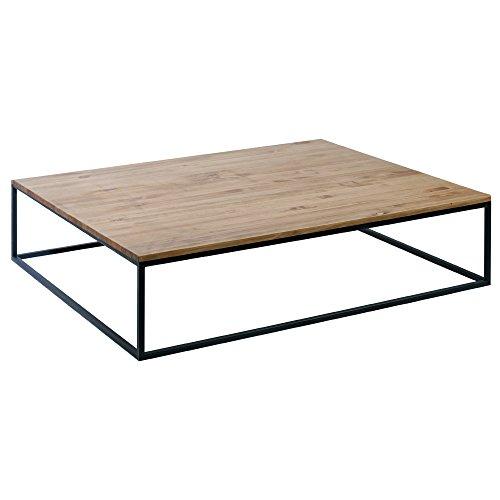 Indhouse - Table Basse Design scandinave Décoration Nordique en Fer et Bois Massif Mia