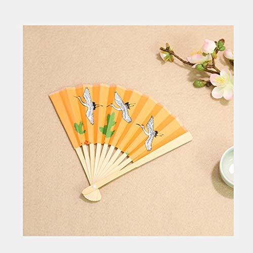 dbemalte doppelseitige Reispapier, Jade Bambus Fan, tragbare Folding Geschenk Fan, Papierfächer (Color : B) ()